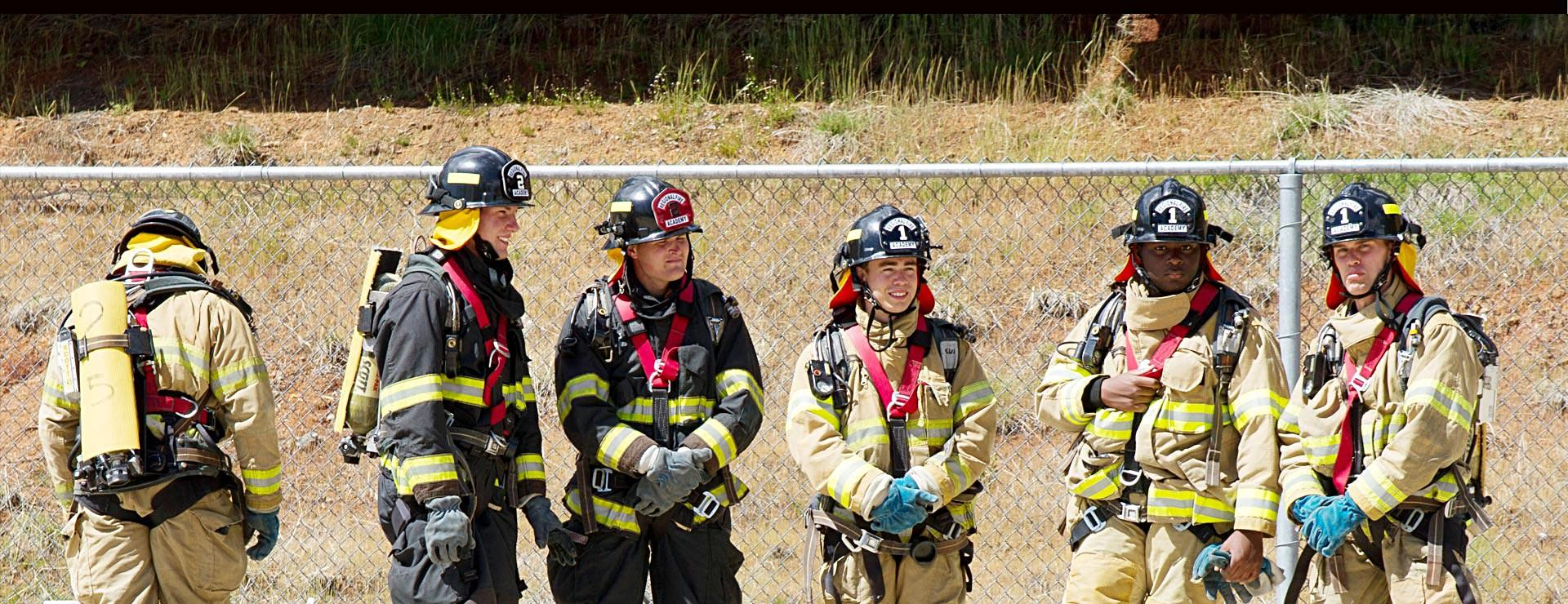 Fire Technology students in fire gear
